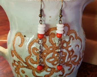 White and Orange Dangle Earrings