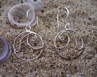 Wave Earrings, Silver Dangle Wave Earrings, Silver Earrings
