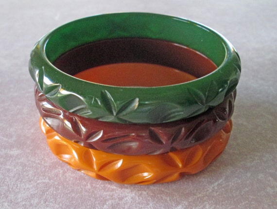 Vintage Bakelite Trio Carved Matching Bracelets, Green, Butterscotch and Chocolate Brown