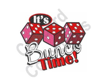 Dice - Machine Embroidery Design, It's Bunco Time - Machine Embroidery Design
