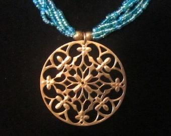 Vintage Blue Necklace With Gold Filigree Pendant Medallion - N-105 - Blue Bead Necklace - Filigree Necklace