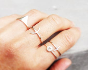 Fine silver pattern ring minimalist arc, esoteric inspiration, esoteric ring