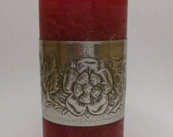 Vintage Style Candle Wrap made from Pewter Metal