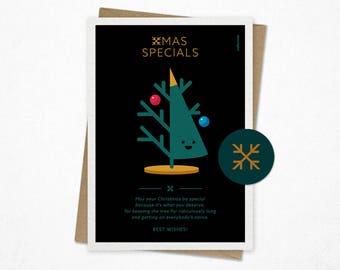 Xmas Specials   Funny Christmas card   Holiday card   Giclee print   Christmas tree