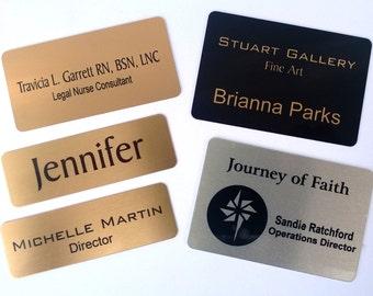 Metal - Gold or Silver Colored Wearable Magnetic Back Name Tags