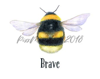 "Bee Brave Watercolour BumbleBee Card 5 x 7"" Greetings Card"