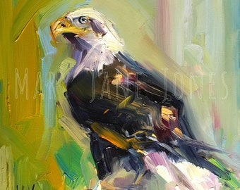 "Standing Watch // 6""x6"" Oil Painting of Bald Eagle // Bird Art"