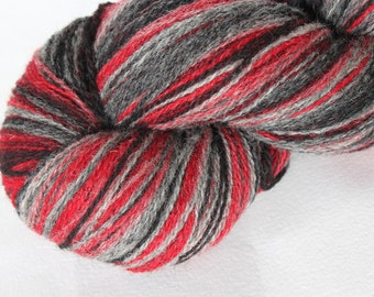 KAUNI Estonian Artistic Wool  Yarn Red Grey 8/2, Art Wool  Yarn for Knitting, Crochet