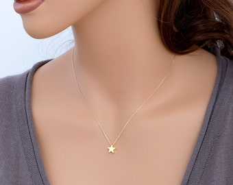 Gold Star Necklace, dainty star necklace, small charm pendant, 14k gold filled chain, delicate everyday jewelry, holidays gift, by balance9