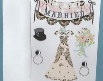 Just Married Handmade Blank Note Card, Matching Envelope