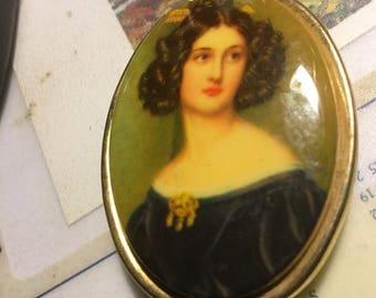 Vintage Locket with Edwardian Lady Photo