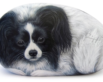 Hand Painted Dog Portrait on a Sea Rock | Fine Art on Stones by Roberto Rizzo | Finely Detailed Pet Portraits on Commission
