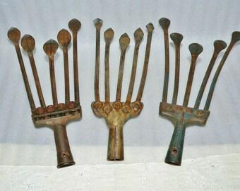 3 Ea. 5 Tine Adjustable Hand Cultivator Heads Garden Tool Farm Steampunk Chicken Art Claws