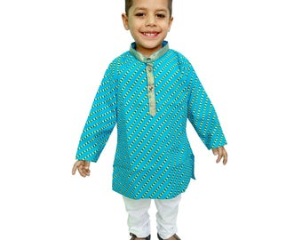 Indian Kids Kurta pajama, Jaipuri Lehariya Print,Hand Print,Khadi Print,Traditional Dress, Ethnic Dress For Boy's