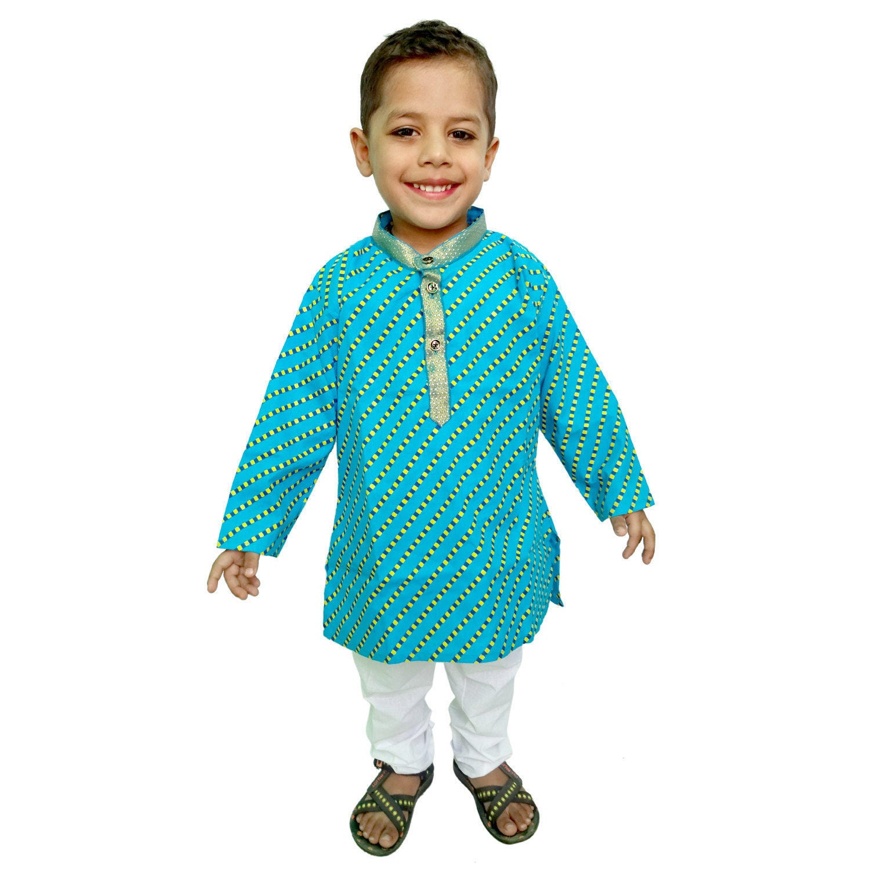 Indian Kids Kurta pajama Jaipuri Lehariya PrintHand
