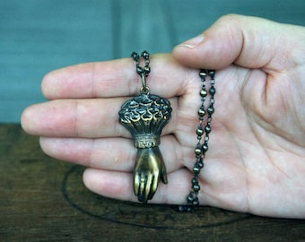 Victorian Style Ladies Cuffed Hand Necklace French Brass Stamping