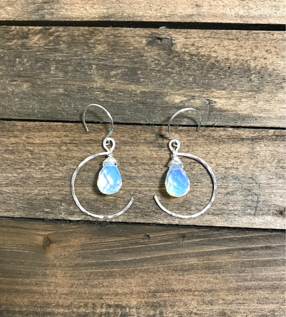 Hammered silver filled crescent opalite drop earrings