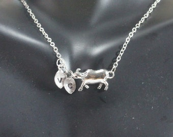 Cow Necklace Farm Animal Lover Gift   Animal Lover Gift.Farmer Gift. Cattle Animal Jewelry Calf  Necklace,Personalized Cow,Farm Girl Gift.