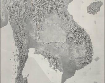Plakat, viele Größen erhältlich; CIA Gelände Karte Vietnam Kambodscha Laos Thailand P2