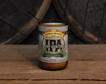Upcycled Craft Beer Bottle Candle - Recycled Sierra Nevada Hop Hunter IPA Bottle Candle 10 oz. Handmade Soy Wax Candle Beer Candle Microbrew