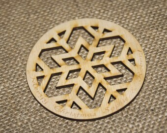 Snow flake coaster, solid hard wood coaster
