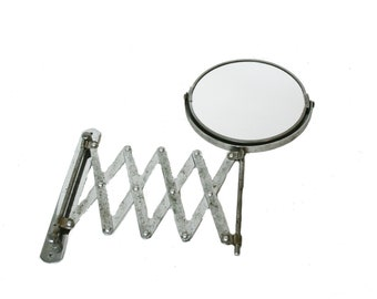 Vintage Expandable Accordian Double Sided Shaving Mirror Wall Mount AS194