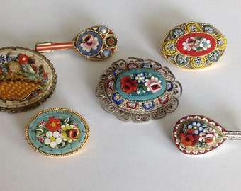Six Vintage Mosaic Brooches