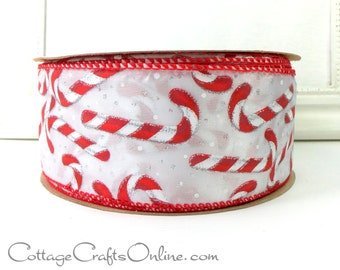 """Christmas Wired Ribbon, 2 1/2"""" wide, Candy Canes, Silver Glitter - THREE YARDS  -  """"Candy Cane Sparkle"""" Craft, Decor Wire Edged Ribbon"""