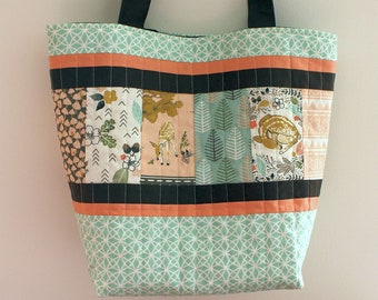 Little Fawn quilted tote shopping bag in mint green, blush and chocolate