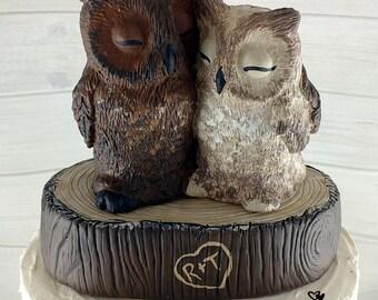 Great Horned Owl Wedding Cake Topper - Custom on a Stump