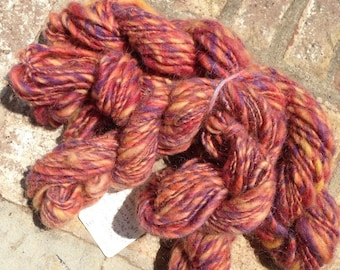 Morning Sunrise - 13% off - OOAK handspun single yarn 3 pack total 146 yards 4 oz.