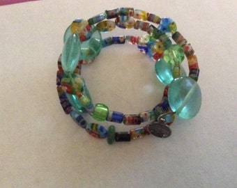 Turquoise memory bracelet with multi colored beads