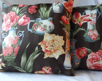 Decorative Black Floral Pillow Cover, Throw Cover,18 x 18