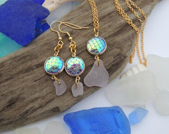 Lavender Sea Glass Necklace and Earring Mermaid Charm Set, Authentic Sea Glass