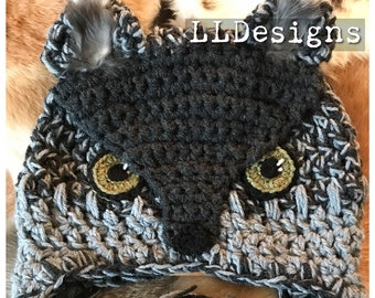 Grey Wolf crochet hat
