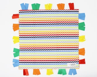 Rainbow Baby Lovey Blanket, Tag Blanket, Lovie, Rainbow Sensory Blanket, Neutral Security Blanket, Rainbow Baby Gift, Rainbow Stripes