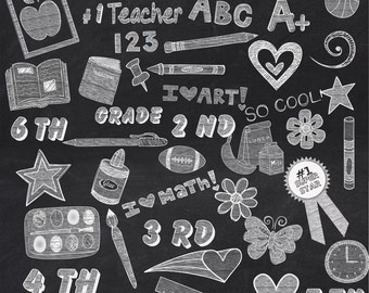 104 White Chalk School Elements/Clipart ****** Instant Download*******