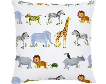 Painted Zoo Throw Pillow by Carousel Designs. Made in the USA.