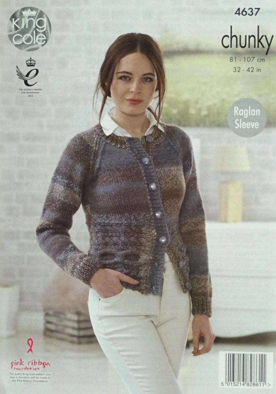 Womens Knitting Pattern K4637 Ladies Long Sleeve Round Neck Cardigan ...