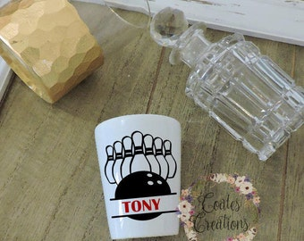 Bowling Shot Glass//personalized shot glass//birthday gift//alcohol gift//unique//not vinyl
