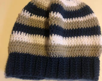 Striped crocheted slouchy beanie