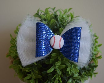 Baseball Bow/Baseball Tulle Bow/Baseball Bow Headband/Baseball Tulle Headband