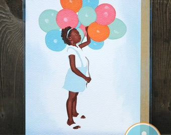Balloon Girl -- Birthday/Celebration card from The Nic Studio