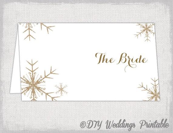 snowflake place card template diy winter wedding printable. Black Bedroom Furniture Sets. Home Design Ideas