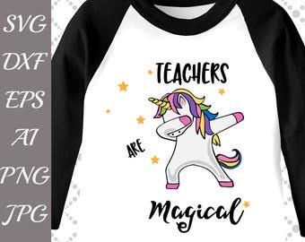 "Dabbing Unicorn Svg: ""UNICORN DAB SVG"" Teachers are Magical,Rainbow Dabbing,Dabbing tshirt Svg,Silhouette Cut Files,Cameo Svg,Dxf files"