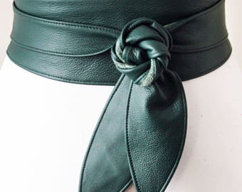Green Obi Belt, Sash Belt, Waist Tie belt,  Leather Obi Belt, Plus Size Belt ,  Emerald Green Belt, Green Wrap Belt