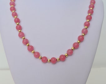 "Vintage Gold Tone Pink Glass Bead Necklace 26"" Long"