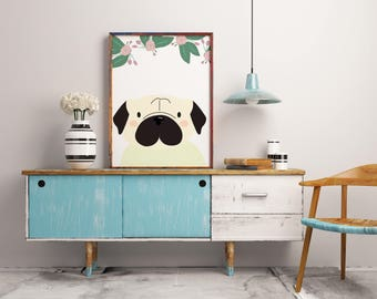Pug and Flowers Printable Poster