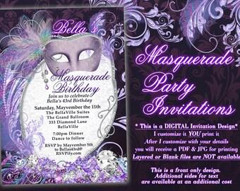 Masquerade Party Invitation, Mardi Gras Party, Purple Masquerade Invitations