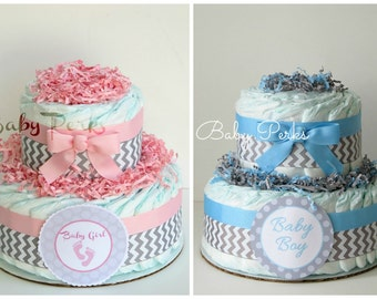 Pink and Grey Baby Shower . Blue and Grey Safari Diaper Cake . Baby Shower Diaper Cake
